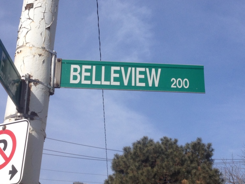 A street sign in the 200 block of Belleview Avenue can be seen in this photo, taken on March 24, 2014. (Chris Campbell/ CTV Windsor)