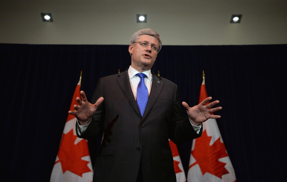 Prime Minister Stephen Harper speaks during a media availability following a meeting of G7 leaders in The Hague, Netherlands on Monday, March 24, 2014. (Sean Kilpatrick / THE CANADIAN PRESS)