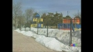 A fence surrounds a play area in Centennial Park in Sarnia, Ont. on Monday, March 24, 2014. (Celine Moreau / CTV London)