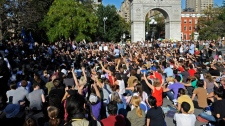 Occupy Wall Street protesters gather in Washington Square Park in New York, Saturday, Oct. 8, 2011. (AP / Henny Ray Abrams)