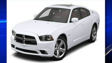 A white Dodge Charge similar to the one police believe was at the scene of the murder is seen in this image.