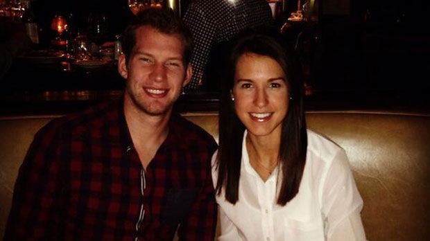 James Reimer is seen with his wife celebrating her birthday in a Twitter photo posted on her account.
