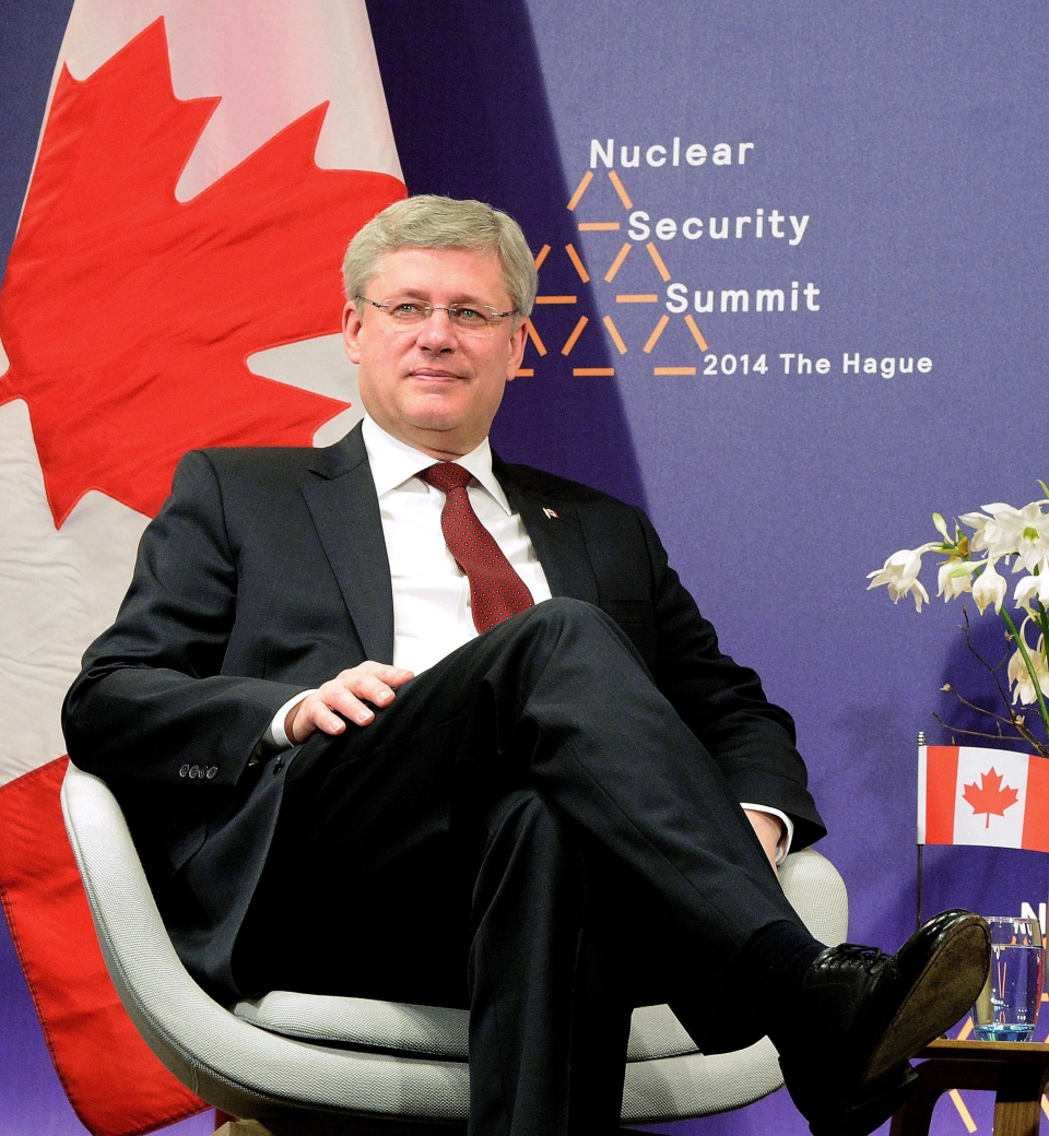 Prime Minister Stephen Harper takes part in a meeting during the Nuclear Security Summit in The Hague, Netherlands, Tuesday, March 25, 2014. (Sean Kilpatrick / THE CANADIAN PRESS)