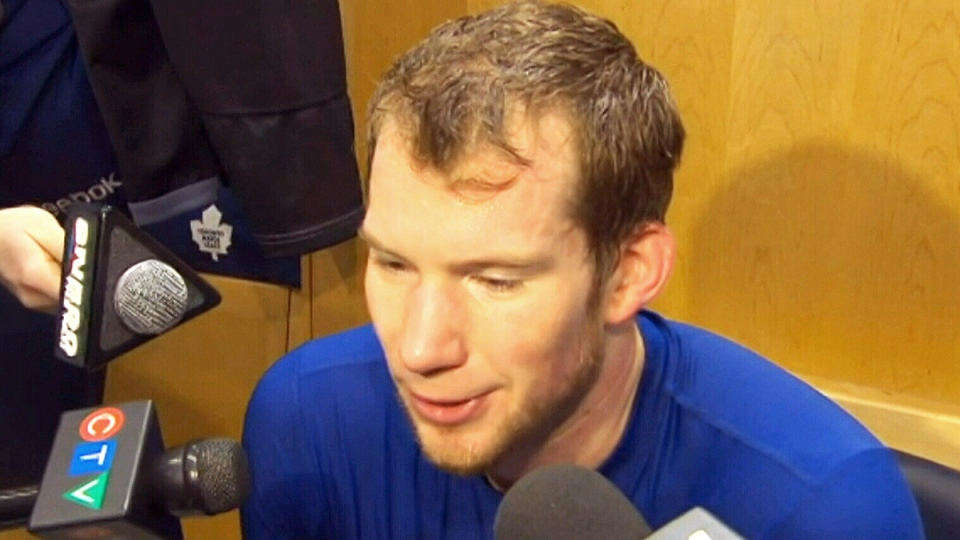 Toronto Maple Leafs goalie James Reimer speaks to the media after a practice in Toronto on Tuesday, March 25, 2014.