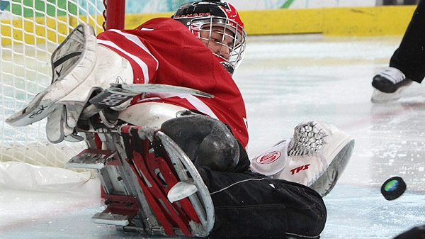 Canada's Paul Rosen makes a save against Japan during second period semi-final ice sledge hockey action at the 2010 Winter Paralympics in Vancouver, B.C., on Thursday March 18 2010. (THE CANADIAN PRESS/Darryl Dyck)