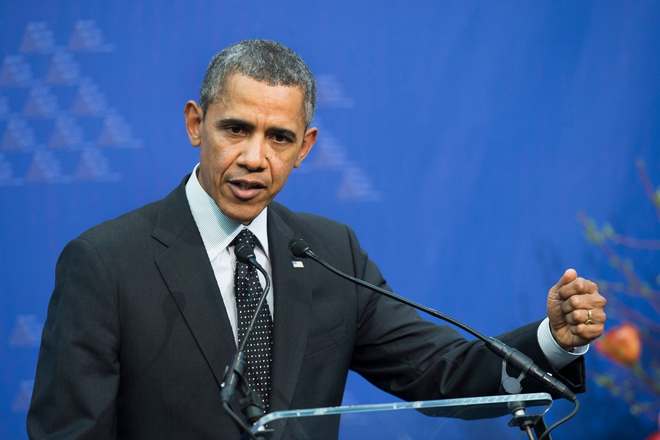 U.S. President Barack Obama speaks at a press conference after the Nuclear Security Summit (NSS) in The Hague, Netherlands, Tuesday, March 25, 2014. (AP / Toussaint Kluiters)