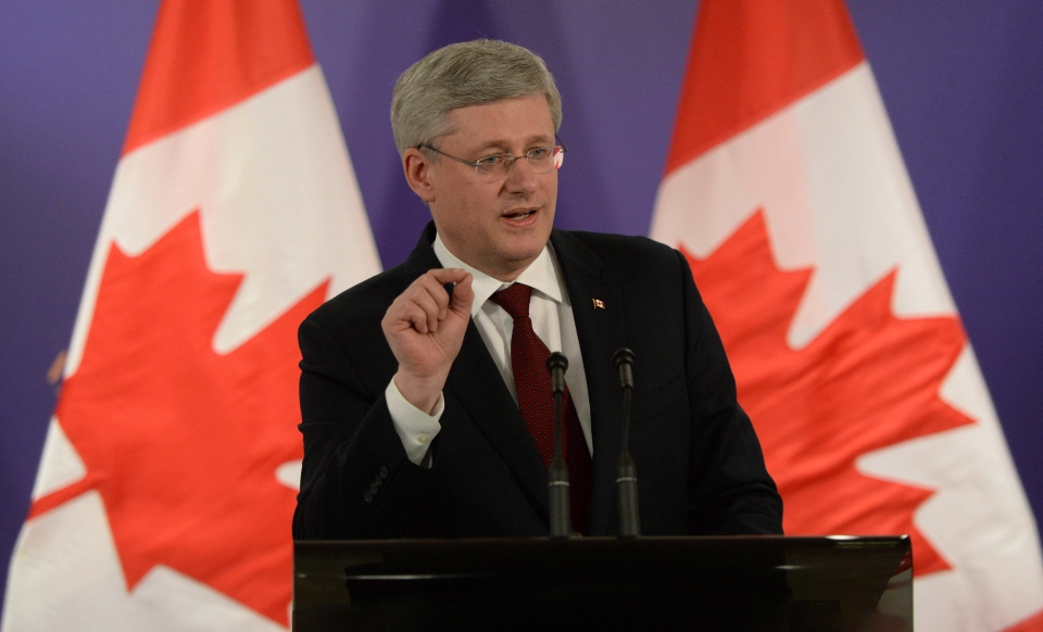 Prime Minister Stephen Harper speaks during a closing press conference following the Nuclear Security Summit in The Hague, Netherlands on Tuesday, March 25, 2014. (Sean Kilpatrick / THE CANADIAN PRESS)