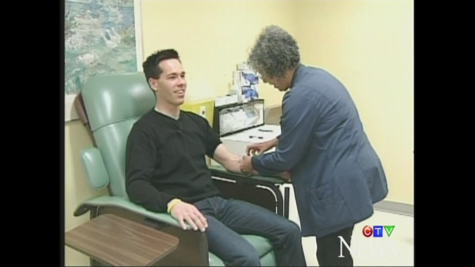 CTV's Scott Miller has his blood taken at the London Health Sciences Centre as part of a regular check-up to ensure his testicular cancer has not returned.