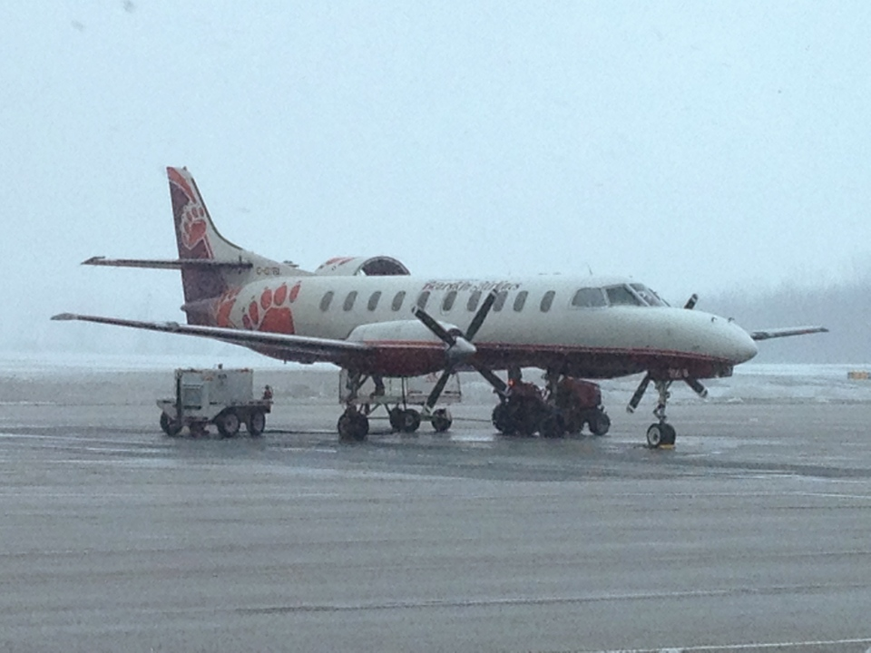 A Bearskin Airlines flight sits on the runway at Region of Waterloo International Airport on Tuesday, March 25, 2014. (David Imrie / CTV Kitchener)
