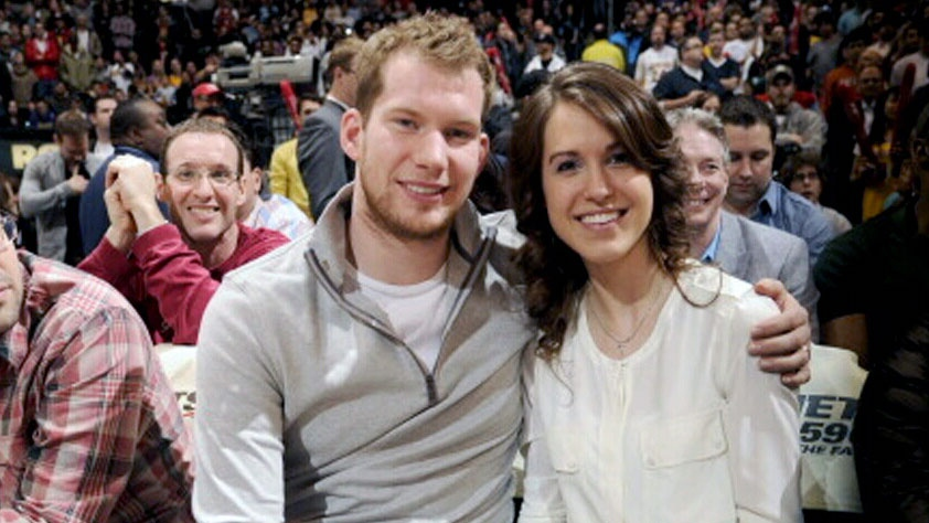 James Reimer is seen with his wife April at a sporting event in this undated photo.