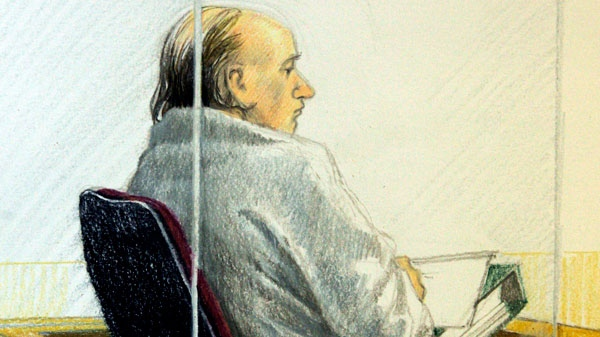 Artist's sketch shows accused serial killer Robert Pickton as he listens to closing arguments at B.C. Supreme Court in New Westminster, B.C. on November 19, 2007. (Jane Wolsak / THE CANADIAN PRESS)