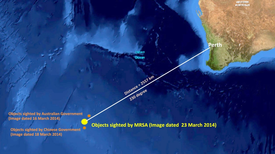 The approximate position of objects seen floating in the southern Indian Ocean in the search zone for the missing Malaysia Airlines flight MH370, as seen in this image released by the Malaysian Remote Sensing Agency.