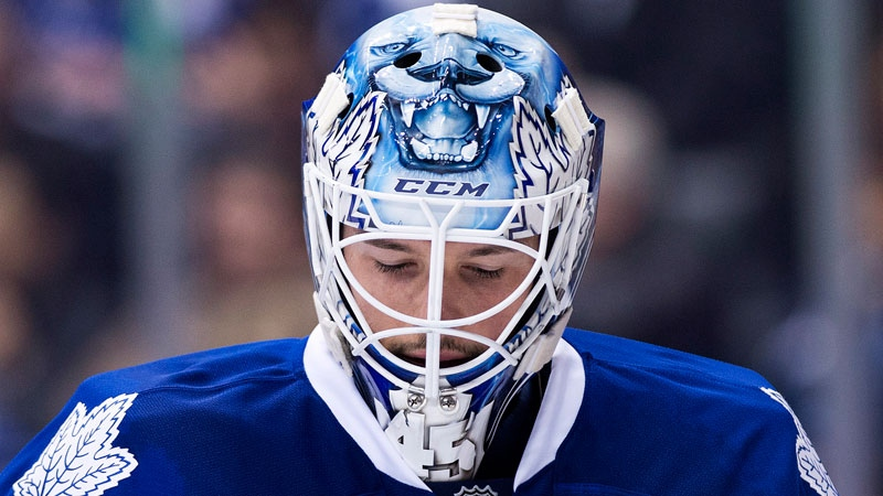 Toronto Maple Leafs goalie Jonathan Bernier looks on while playing St. Louis Blues during first period NHL hockey action in Toronto on Tuesday, March 25, 2014. (Nathan Denette / THE CANADIAN PRESS)