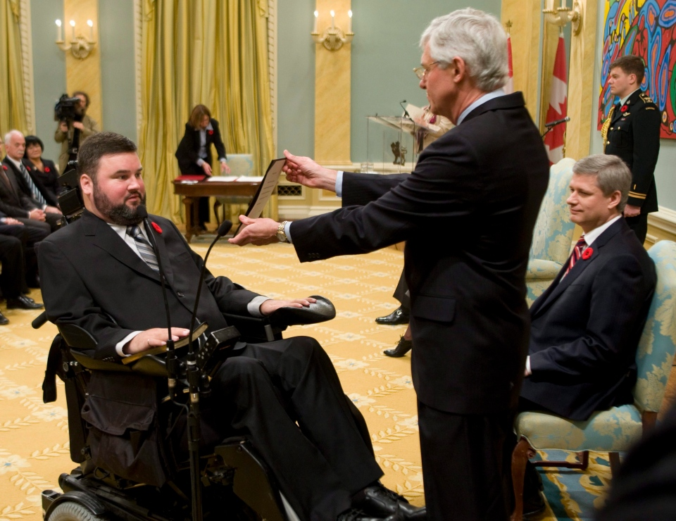 Steven Fletcher is sworn in by Clerk of the Privy council Kevin Lynch during a ceremony at Rideau Hall in Ottawa in this 2008 file photo. (Fred Chartrand/THE CANADIAN PRESS)