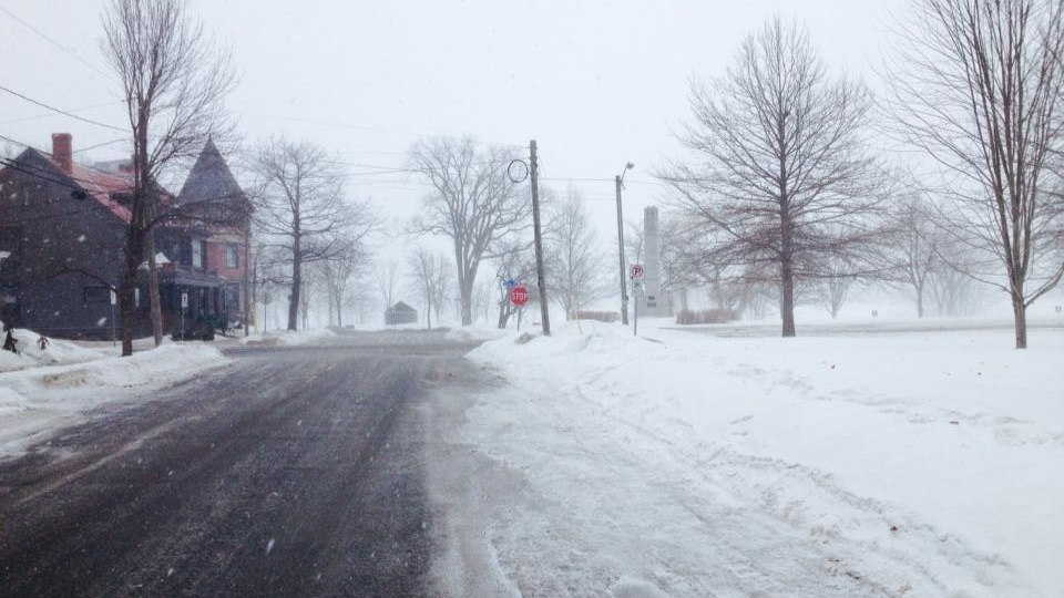 Snow falls in Fredericton as the spring blizzard moves through the Maritimes, Wednesday, March 26, 2014. (Andy Campbell / CTV News Atlantic)