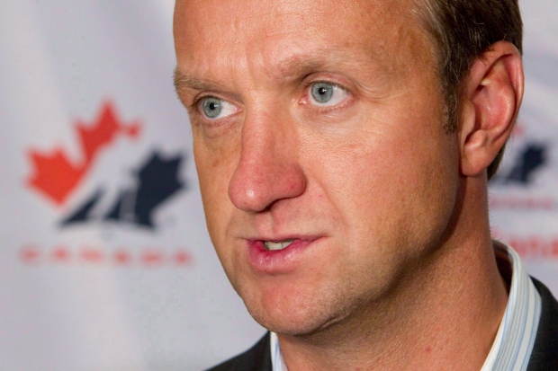 Rob Blake speaks to reporters in Toronto