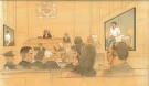 In this sketch, a courtroom hears the autopsy details of Brian Dickson's murder trial in Toronto on Wednesday, March 26, 2014. (John Mantha)