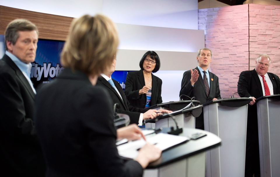 Karen Stintz, left to right, John Tory, Olivia Chow, David Soknacki and Rob Ford take part in the first mayoral debate for the Toronto mayoral race in Toronto on Wednesday, March 26, 2014. (Nathan Denette / THE CANADIAN PRESS)