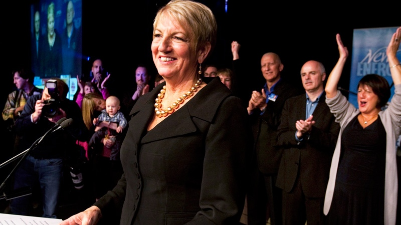 Premier Kathy Dunderdale addresses supporters in St. John's after winning the Newfoundland and Labrador provincial election on Tuesday, Oct. 11, 2011. (Andrew Vaughan / THE CANADIAN PRESS)