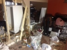 The inside of a Barrie Street home, in Chatham, Ont. can be seen, after an SUV struck the building, Thursday, March 27, 2014. (Chris Campbell/ CTV Windosr)