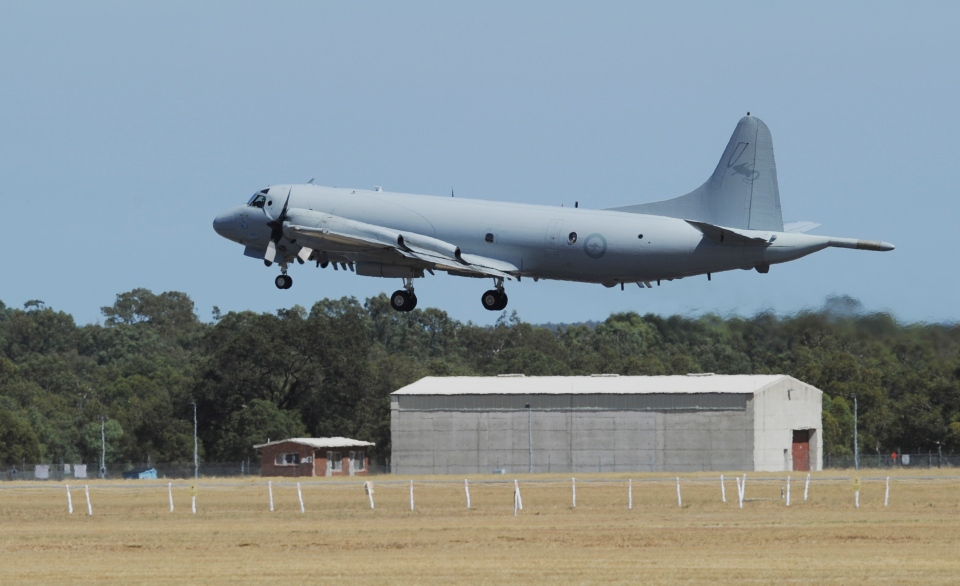 An Royal Australian Air Force AP-3 Orion aircraft takes off from Pearce Airbase, north of Perth, Australia, Friday, March 28, 2014.  (AP / Greg Wood)