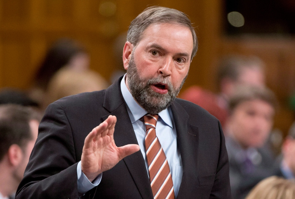 NDP Leader Tom Mulcair rises during Question Period in the House of Commons, Tuesday, March 25, 2014. (Adrian Wyld / THE CANADIAN PRESS)