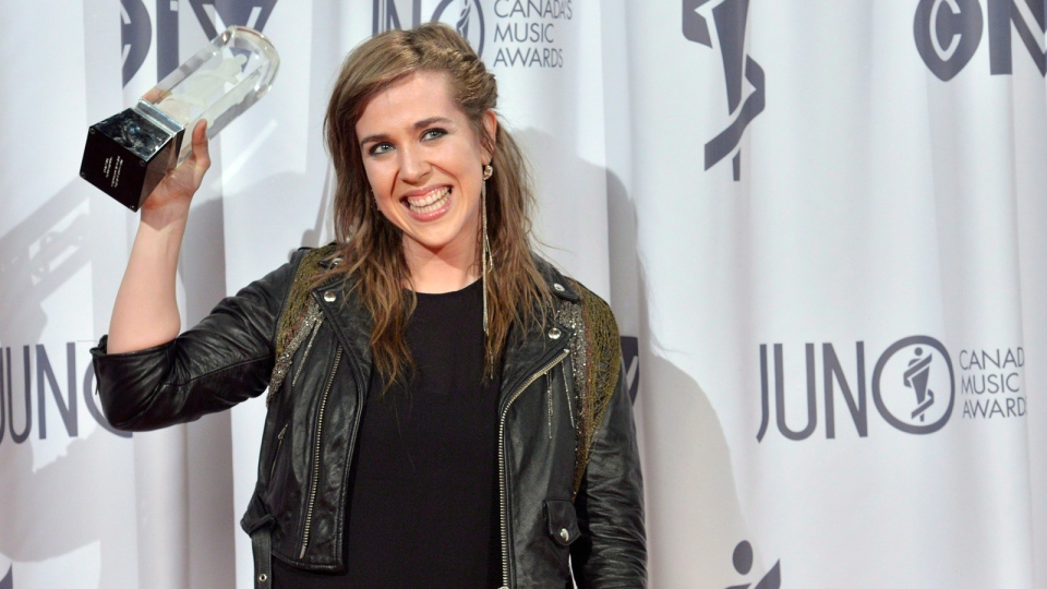 Serena Ryder poses with her Juno award after winning adult alternative album of the year during the 2013 Juno Gala, Dinner and Awards in Regina on Sunday, April 21, 2013. (Liam Richards / THE CANADIAN PRESS)