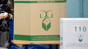 A voting booth for the provincial election in Mont