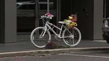 A ghost bike memorial has been established near the site where Nacu died Tuesday, October 11, 2011.