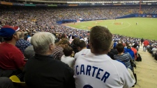 A fan wears a Gary Carter Montreal Expos uniform a