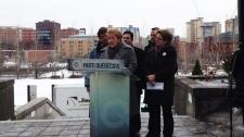 PQ leader Pauline Marois, seen at a press conferen