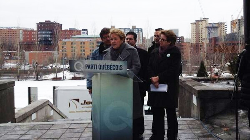 PQ leader Pauline Marois, seen at a press conference near City Hall on Saturday March 29, 2014. (CTV Montreal Cindy Sherwin)