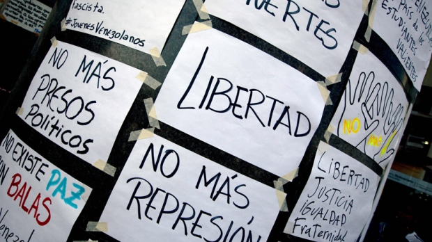Posters outside UN office, Caracas, Venezuela