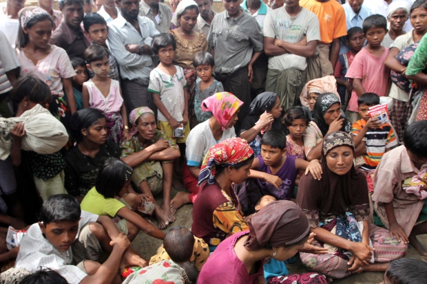 Muslim refugees at the Thechaung camp refugee camp