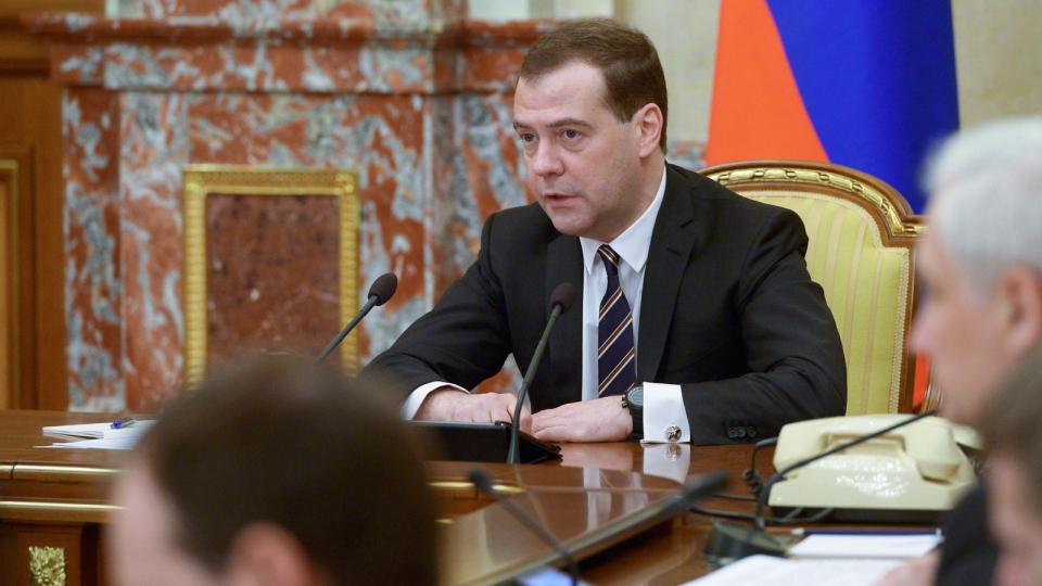 Russian Prime Minister Dmitry Medvedev heads the Cabinet meeting in the government headquarters focused on social and economic development of Crimea and Sevastopol, in Moscow on Monday March 24, 2014. (AP / RIA Novosti, Alexander Astafyev, Government Press Service)