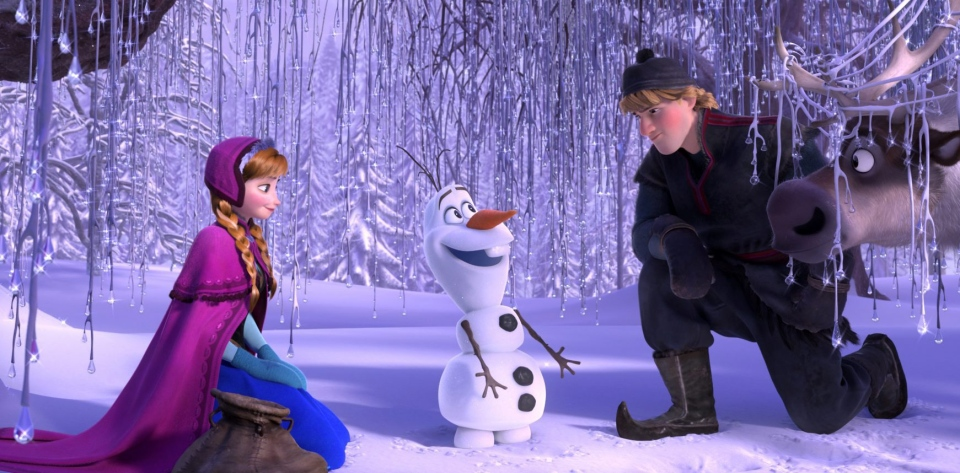 This image released by Disney shows, from left, Anna, voiced by Kristen Bell, Olaf, voiced by Josh Gad, and Kristoff, voiced by Jonathan Groff in a scene from the animated feature 'Frozen.' (AP / Disney)