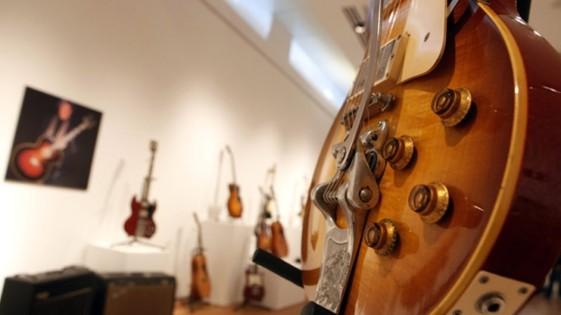 Classic guitars and amplifiers from the collection of actor Richard Gere are displayed at Christie's, Thursday, Oct. 6, 2011 in New York.