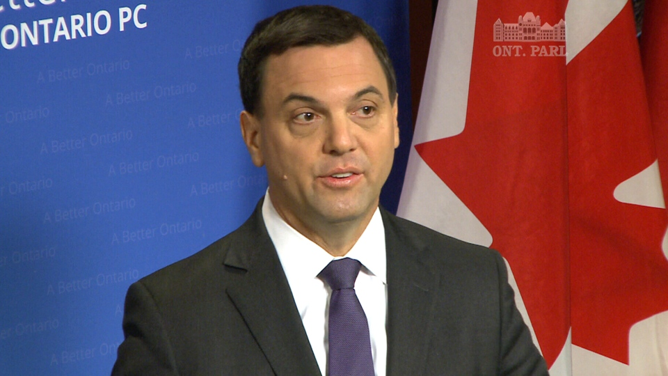 Progressive Conservative Leader Tim Hudak speaks during a press conference at Queen's Park in Toronto, Monday, March 31, 2014.