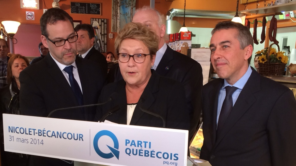 Pauline Marois and Nicolas Marceau make an announcement in Becancour about increasing support for Quebec-made cheese products (CTV Montreal/Fred Bissonnette)