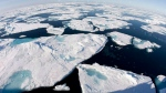 Ice floes float in Baffin Bay between Canada and Greenland above the Arctic circle on July 10, 2008. (Jonathan Hayward / THE CANADIAN PRESS)