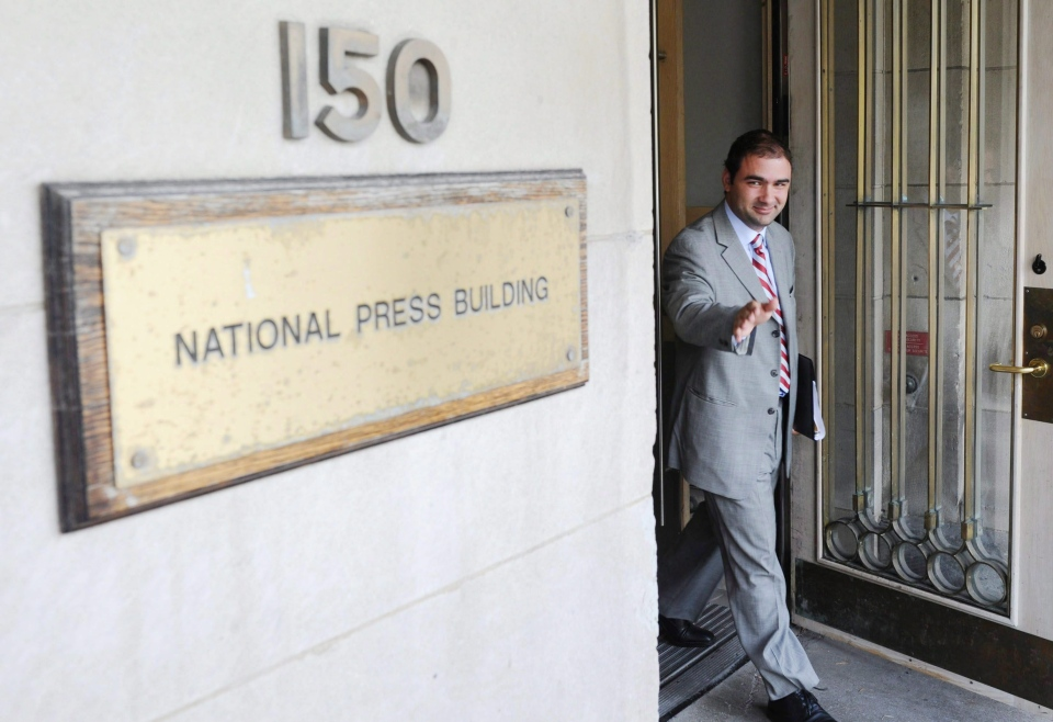 Dimitri Soudas leaves the National Press Theatre in Ottawa on August 30, 2011. (Sean Kilpatrick / THE CANADIAN PRESS)
