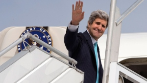 U.S. Secretary of State John Kerry leaves Paris, Monday, March 31, 2014, for a trip to the Middle East to work on talks about the Middle East peace process. (AP / Jacquelyn Martin)