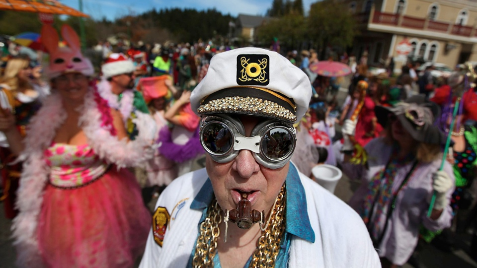 Gary Avreim of Sebastopol, Calif., does his best to blend in during the Occidental April Fools Day Parade, Saturday April 2, 2011 in downtown Occidental, Calif. (AP / The Press Democrat, Kent Porter)