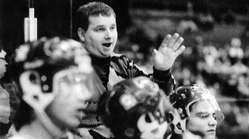 Graham James talks to players on the Swift Current Broncos junior hockey team in this undated photo. (THE CANADIAN PRESS)