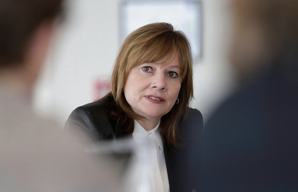 General Motors CEO Mary Barra addresses the media during a roundtable meeting with journalists in Detroit on Jan. 23, 2014. (AP Photo / Carlos Osorio)