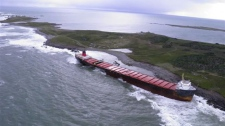 MV Miner ran aground off Scatarie Island, a provincially designated wilderness management area, on Sept. 20., 2011. (THE CANADIAN PRESS/ho-Nova Scotia government)