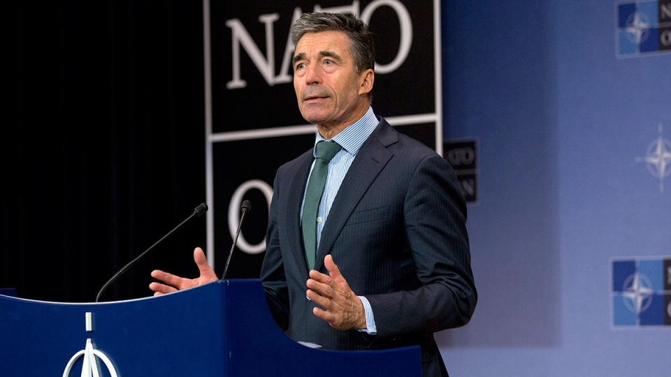 NATO Secretary General Anders Fogh Rasmussen speaks during a media conference after a meeting of NATO foreign ministers at NATO headquarters in Brussels on Tuesday, April 1, 2014. (AP / Virginia Mayo)