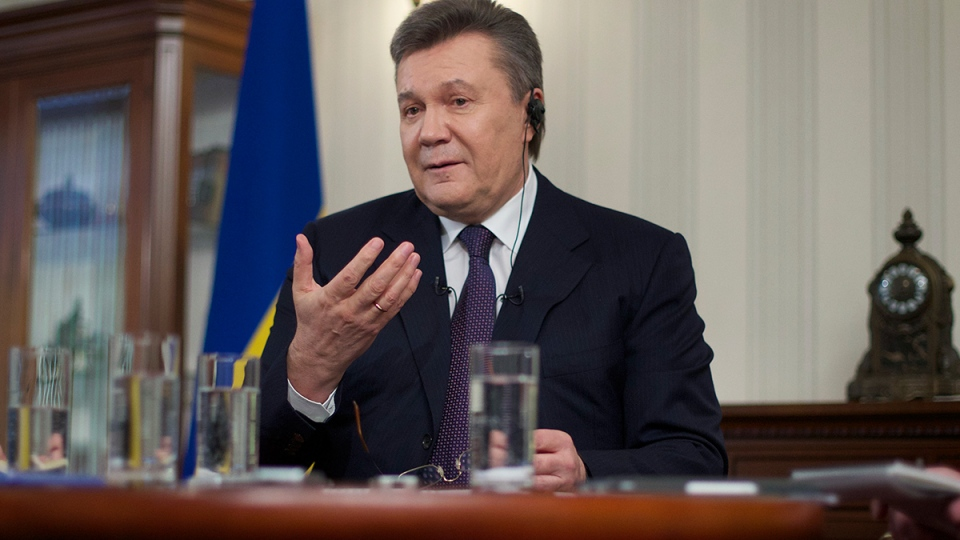 Ousted Ukrainian President Viktor Yanukovych gestures during an interview with The Associated Press, in Rostov-on-Don, Russia, Wednesday, April 2, 2014. (AP / Ivan Sekretarev)