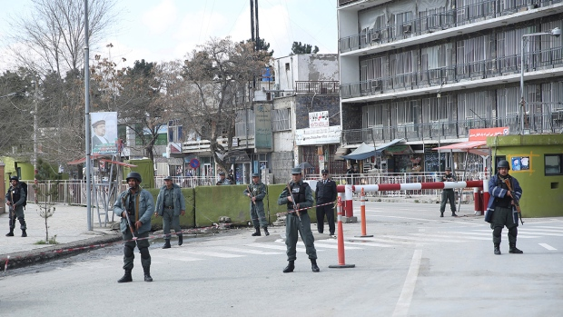 Afghan policemen at Interior Ministry bombing