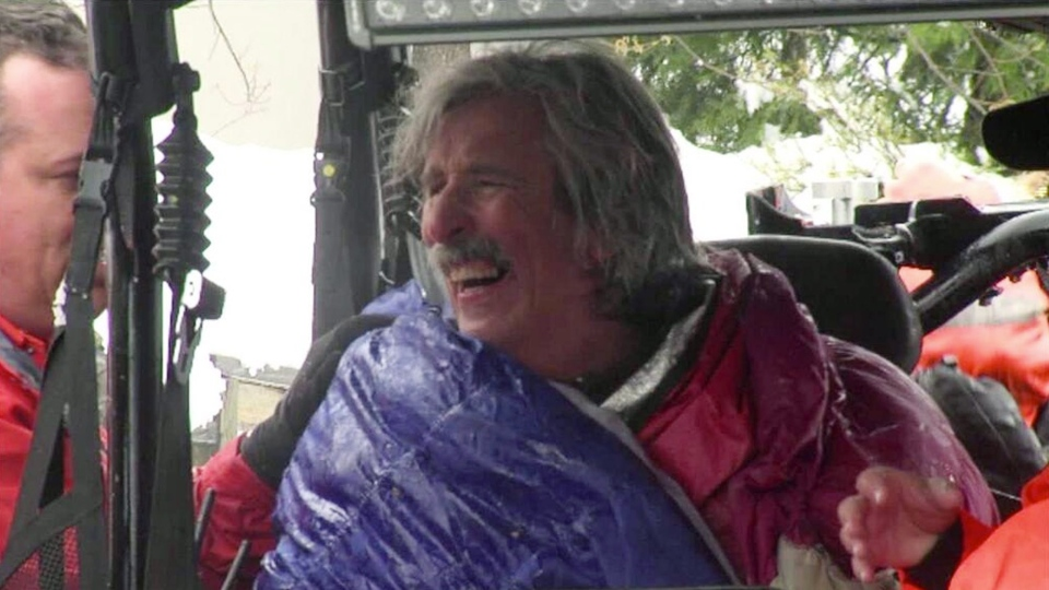 This image from video provided by KTXL Fox 40 Sacramento, shows trail runner Robert Root after being rescued, near Foresthill, Calif., in Placer County, Tuesday, April 1, 2014. (AP / KTXL Fox 40 Sacramento)